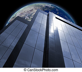 Global Business - Corporate Building in front of Earth