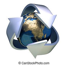 Earth globe surrounded by arrows - 3d render
