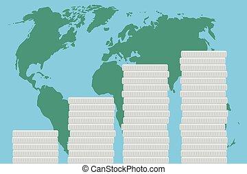 Global business finance map money