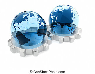 Global business - Glass Earth globe sitting on a gears - 3d...