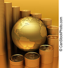 Global Business - Gold Globe with many gold coins around. ...
