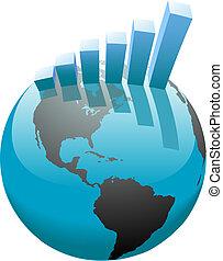 A global worldwide business growth bar chart graph on the world.