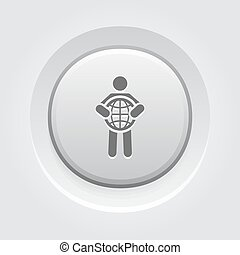 Global Business Icon. Business Concept. Grey Button Design