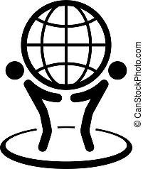 Global Business Icon. Flat Design. Isolated Illustration.