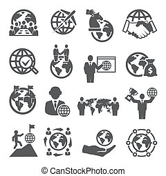 Global Business Icons Set on white background