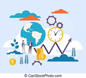 Global business investment concept. Vector flat graphic design illustration