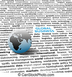 Global business issues world globe text page - Globe on page...