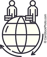 Global business line icon concept. Global business vector linear illustration, symbol, sign
