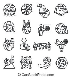 Global Business Line Icons Set on white background