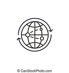 Global business linear icon concept. Global business line vector sign, symbol, illustration.