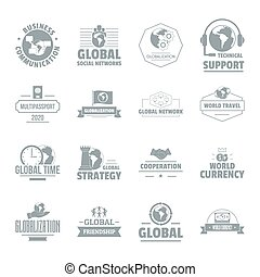 Global business logo icons set, simple style