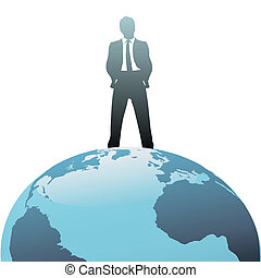 Global business man on top of the world