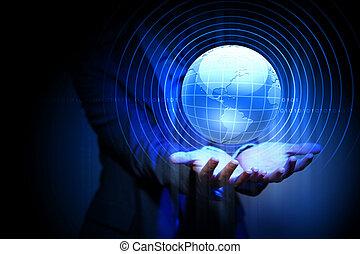 global business network - Blue global technology background...