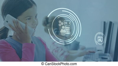 Animation of network of icons over girl talking on smartphone in the background. Global business finance education network interface concept digital composite.