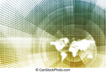 Global Business Network with Modern Lines as Concept