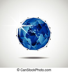 Global business network technology background, vector