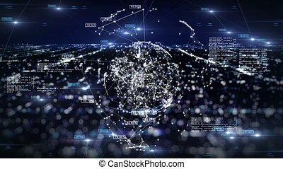 Global Business Network with Numbers above Night City Lights. 3d seamless animation of Technology Concept. Looped. HD 1080.