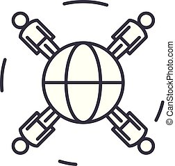 Global business networking line icon concept. Global business networking vector linear illustration, symbol, sign