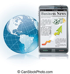 Global Bysiness Concept. Business News on Smart Phone with Earth and communication lines, vector