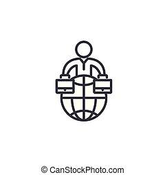 Global business organization linear icon concept. Global business organization line vector sign, symbol, illustration.