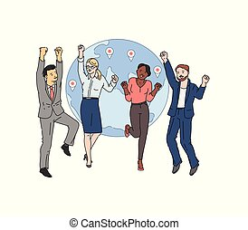 Global business partnership concept with people, sketch vector illustration.