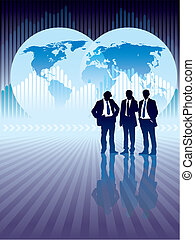 People are standing, world map and graph in the background, vector illustration. The base map is from Central Intelligence Agency Web site.