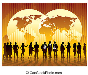 Global business - People are talking, world map and a graph...