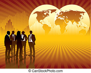 People are talking, world map and graph in the background, vector illustration.