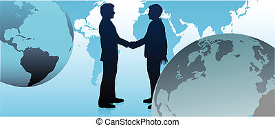 Global business people handshake to agree in international economy pact