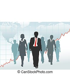 Global business people team walk from chart world map