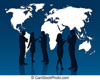 Global business - Silhouettes of business people on world...