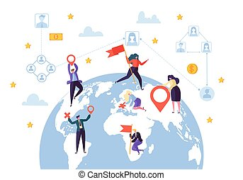 Global Business Social Profile Connection. Worldwide Businessman Communication Network Concept. Earth Globe Design. Flat Cartoon Vector Illustration