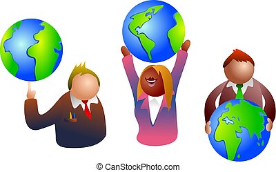 global business - business people with globes