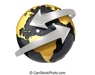 Two arrows surrounding Earth globe - 3d render
