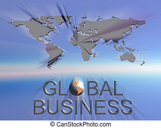 Background, illustration of global business sign with worldmap in background. Communication, corporate concept.