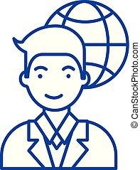 Global businessman line icon concept. Global businessman flat vector symbol, sign, outline illustration.