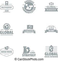 Global businessman logo set, simple style