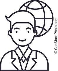 global businessman vector line icon, sign, illustration on background, editable strokes