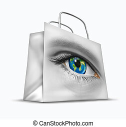 Global buyer in world trade and international commerce as a business symbol of searching for the best exports and imports for retail sales as a financial shopping bag with a human earth sphere eye.