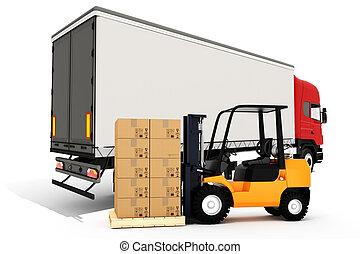 global, carga, concepto, transporte, 3d