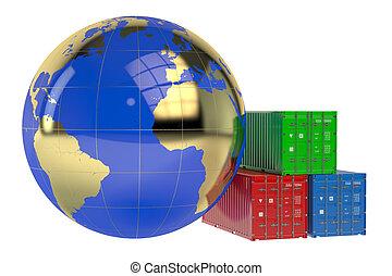 global, cargaison, concept, expédition