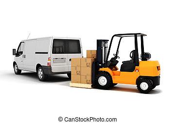 global, cargaison, concept, transport, 3d