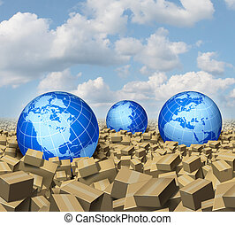 Global cargo and Shipping business concept as a worldwide trade and delivery transport courier service with a group of spheres representing the world markets floating or drowning in a sea and ocean of cardboard boxes.