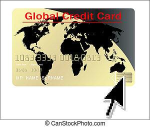 global, carte, vecteur, crédit