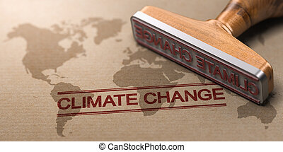 3D illustration of a rubber stamp over paper background with a world map watermark printed and the text climate change. Concept of global warming.