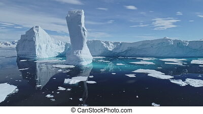 Global climate change: nature is declining, glaciers melting. Rising seas and world warming problem. Amazing environment of Antarctica, South Pole. Cinematic drone shot of ecology issue