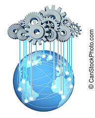 Global cloud network computing network symbol with a cloud and rain in the form of gears and cogs representing the expansion of the global cloud computing technology on a world and international internet partners