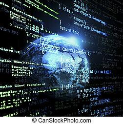Global code - Digital program code with a earth globe ...
