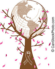 Global collaboration breast cancer awareness concept tree illustration with leaves and ribbon symbol. EPS10 vector file with transparency organized in layers for easy editing.