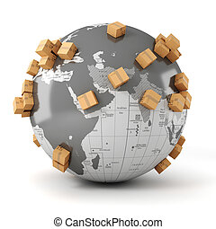 global, commerce, concept, business, 3d